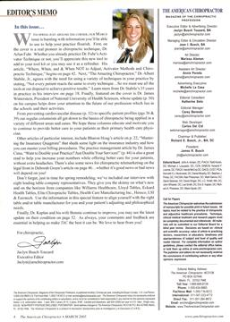 EDITOR'S MEMO, Page: 4 - March 2005 | American Chiropractor