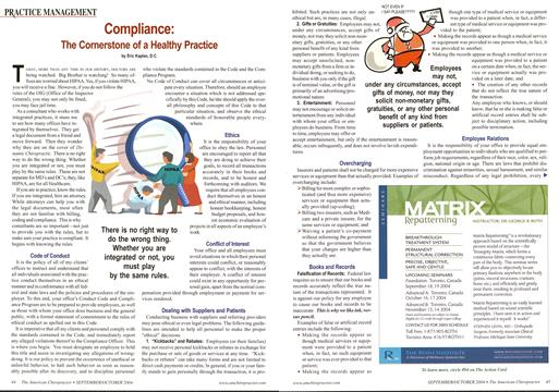 Compliance: The Cornerstone of a Healthy Practice, Page: 44 - September/October 2004 | American Chiropractor