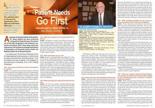 Patient Needs Go First, Page: 18 - March 2005 | American Chiropractor