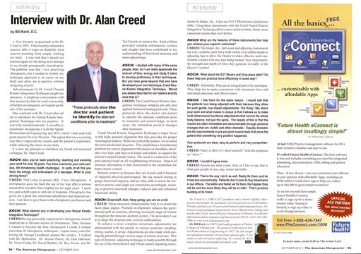 Interview with Dr. Alan Creed, Page: 54 - October 2010 | American Chiropractor