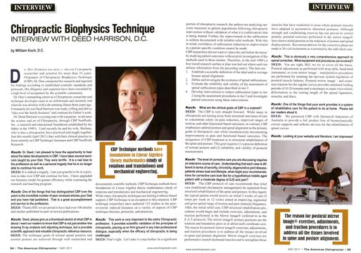 Chiropractic Biophysics Technique, Page: 54 - May 2011 | American Chiropractor