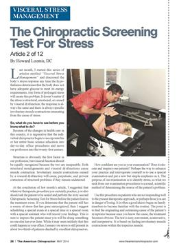 The Chiropractic Screening Test For Stress, Page: 26 - May 2014 | American Chiropractor