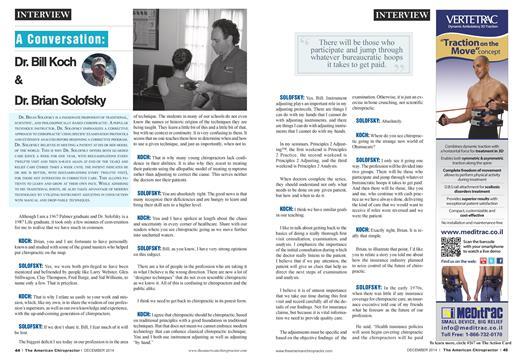 A Conversation: Dr. Bill Koch & Dr. Brian Solofsky, Page: 44 - December 2014 | American Chiropractor