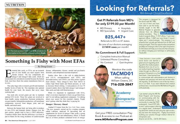 Article Preview: Something Is Fishy with Most EFAs, JULY 2019 | American Chiropractor