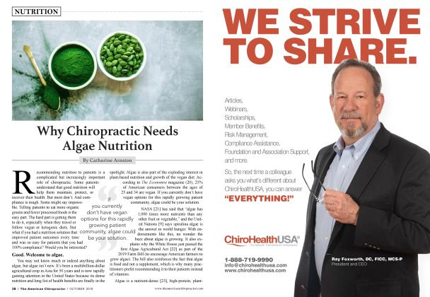 Article Preview: Why Chiropractic Needs Algae Nutrition, OCTOBER 2019 | American Chiropractor