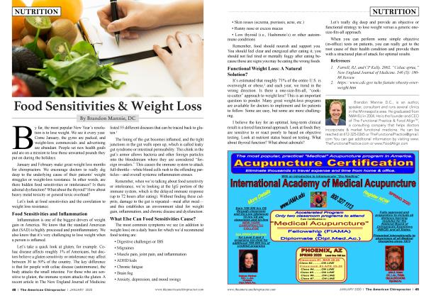 Article Preview: Food Sensitivities & Weight Loss, JANUARY 2020 | American Chiropractor