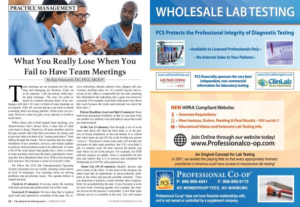 Article Preview: What You Really Lose When You Fail to Have Team Meetings, FEBRUARY 2020 | American Chiropractor