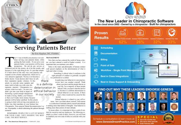 Article Preview: Serving Patients Better, FEBRUARY 2020 | American Chiropractor