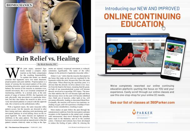 Article Preview: Pain Relief vs. Healing, FEBRUARY 2020 | American Chiropractor