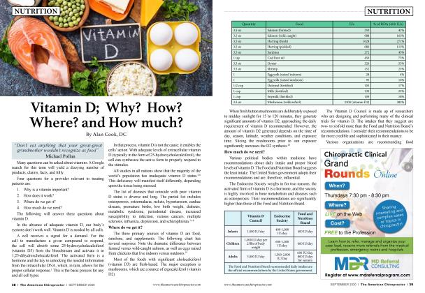 Article Preview: Vitamin D; Why? How? Where? and How much?, SEPTEMBER 2020 | American Chiropractor